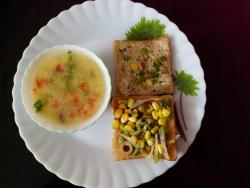 Sweet Corns Soup with Mexican Sandwich