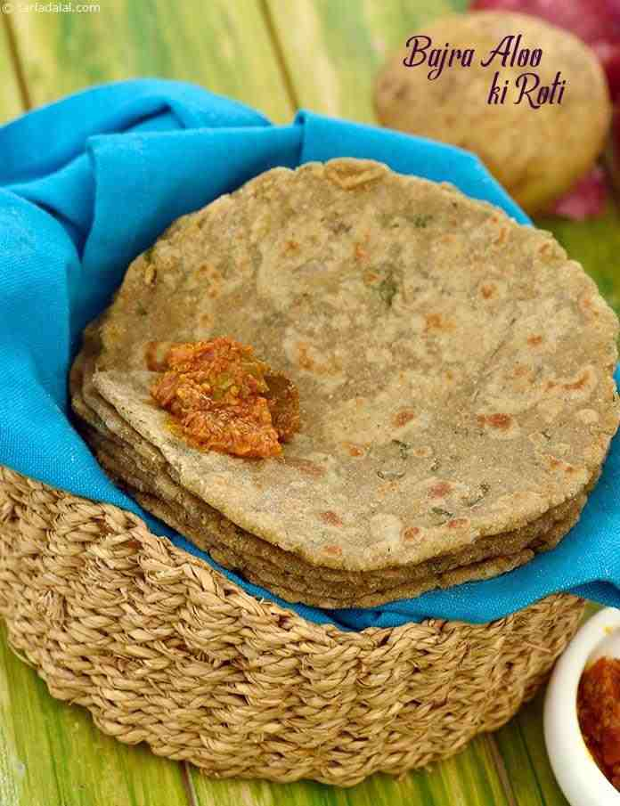 Adding some mashed potatoes to the dough makes the Bajra Aloo ki Roti soft and pleasant to the palate, while amchur, coriander and green chilli paste impart a welcome peppiness.