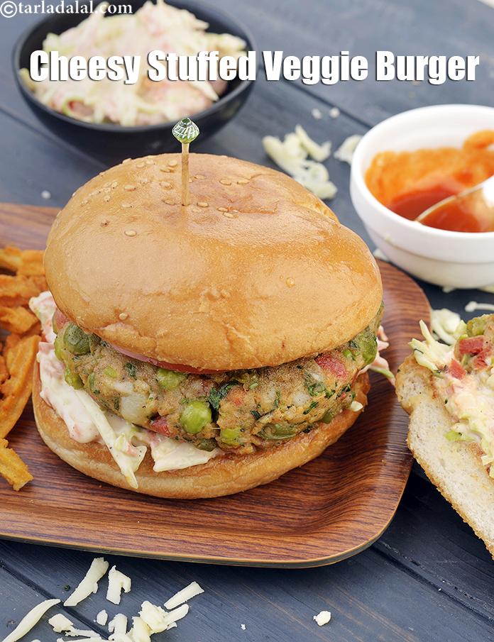 Cheesy Stuffed Veggie Burger, Veg Cheese Burger