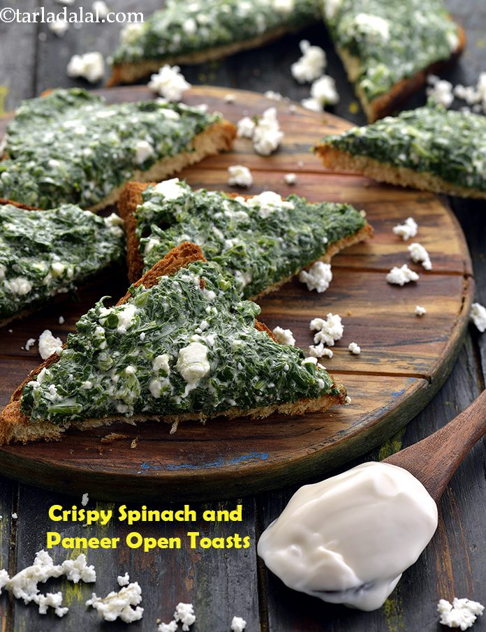 Crispy Spinach and Paneer Open Toasts
