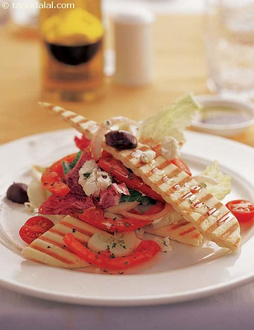 Grilled Feta and Pita Salad