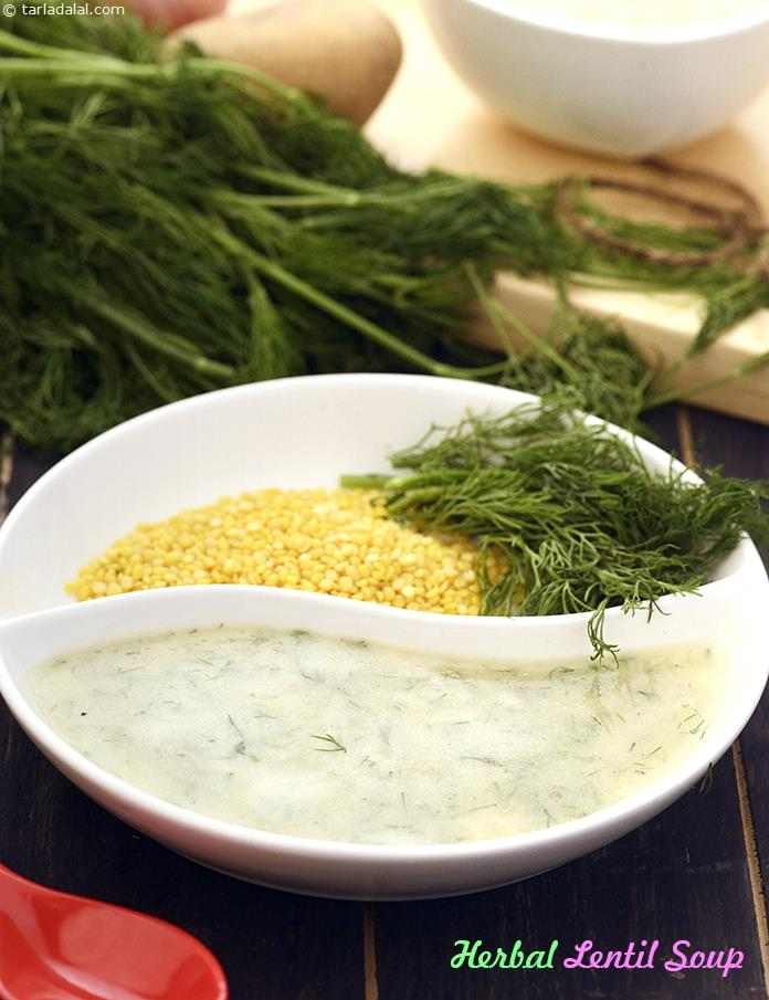 A satiating combination of moong dal and potatoes is perked up with onions and dill leaves to make a comforting soup.