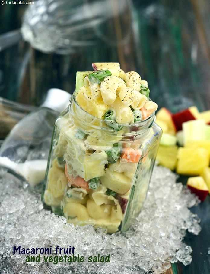 Macaroni, Fruit and Vegetable Salad is quite easy to prepare. Simply chop up your favourite veggies and fruits, cook up some macaroni and toss them all together in a salad bowl with fresh cream and mayonnaise!