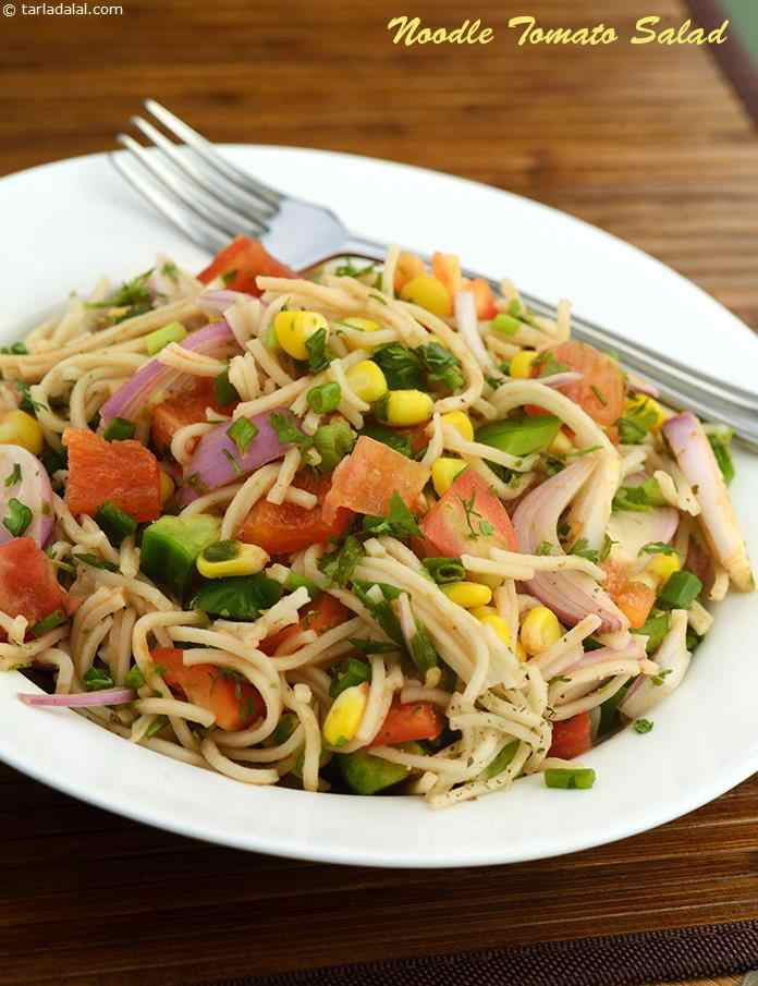 Noodle Tomato Salad, here is a versatile dish that can serve not only as a healthy side-serving but even as a main course.