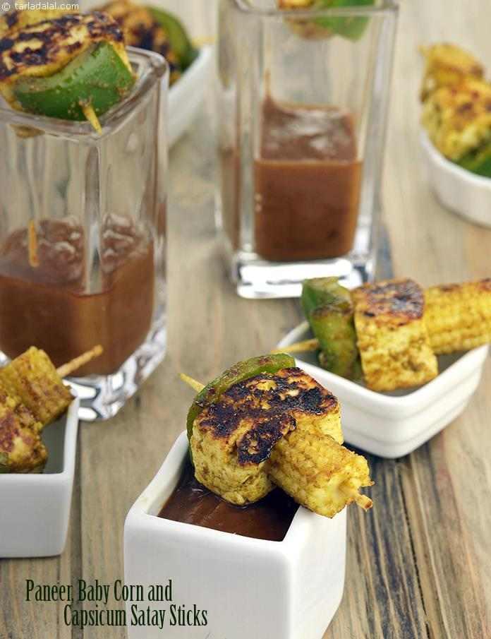 Paneer, Baby Corn and Capsicum Satay Sticks