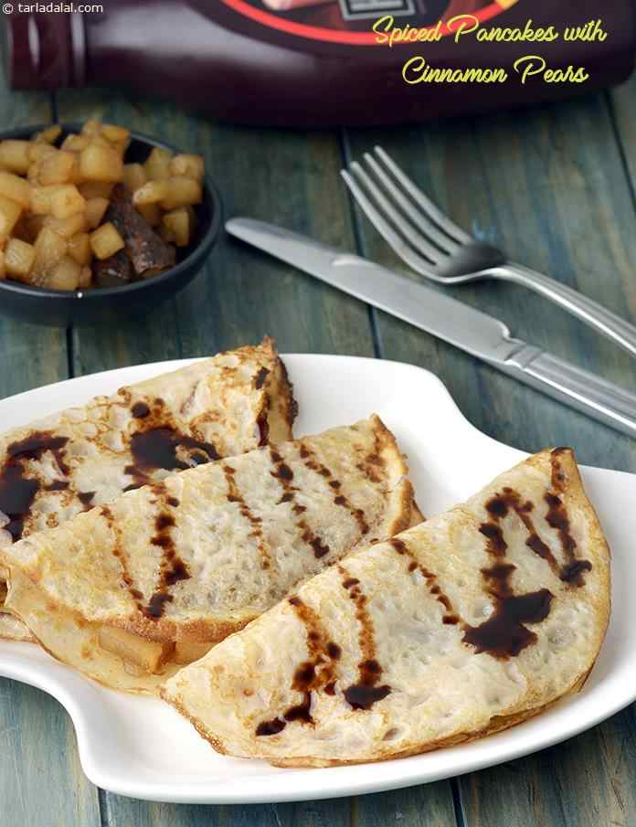 Spiced Pancakes with Golden Cinnamon Pears