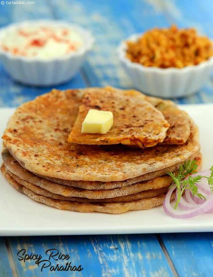 Spicy Rice Parathas