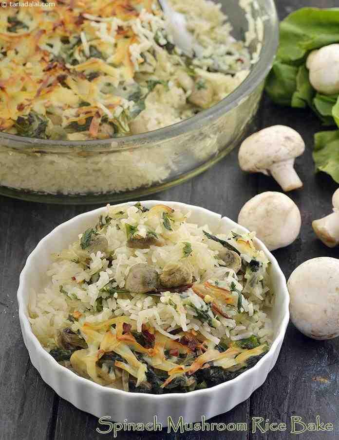 Spinach Mushroom Rice Bake