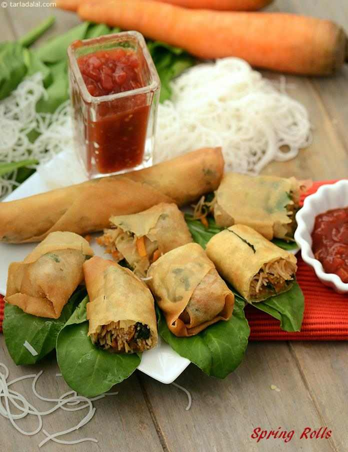 Spring Rolls stuffed with crunchy and colourful veggies, perfectly cooked noodles and flavour enhancers like green chillies and coriander, these Spring Rolls offer an ideal balance of flavour and texture.